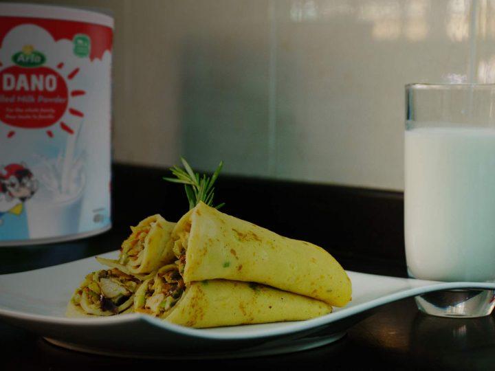 Savoury Grilled Chicken & Veggie Pancake Wrap